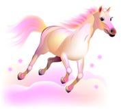 幻想仙境跑在云彩的桃红色马的例证 免版税库存图片