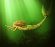 幻想 美丽的妇女美人鱼 免版税库存图片