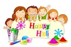 想Holi节日的孩子 免版税库存照片
