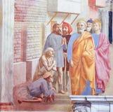 愈合有他的阴影的圣伯多禄病残-壁画在Florenc 免版税库存图片