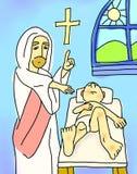 愈合病态的男孩麻疯病的耶稣基督 免版税库存图片