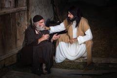 愈合盲人的耶稣 库存照片