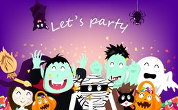 愉快万圣节聚会庆祝、五彩纸屑爆炸、吸血鬼、南瓜、妈咪,猫,鬼,巫婆、棒、蜘蛛和蛇神 向量例证