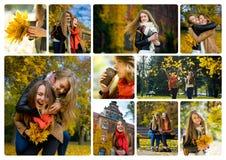 愉快两个的女孩花费他们的业余时间在秋天公园 库存图片