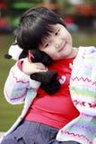 愉快亚裔的女孩一点 库存照片