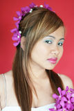 愉快亚裔的女孩 图库摄影