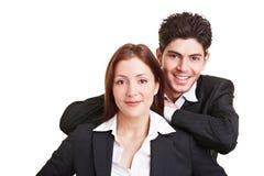 愉快企业的夫妇 免版税库存照片