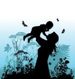 愉快儿童的系列她的妇女 免版税库存照片