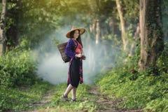 愉快农夫的女孩 免版税图库摄影