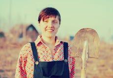 愉快农夫的女性 免版税图库摄影