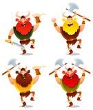 愉快北欧海盗战士跳舞 免版税库存图片