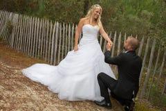 愉快和一对可爱的婚礼夫妇 库存图片