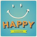 愉快和微笑面孔减速火箭的海报 库存图片