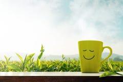 愉快和放松概念 一杯与兴高采烈的面孔的热的茶 免版税库存照片