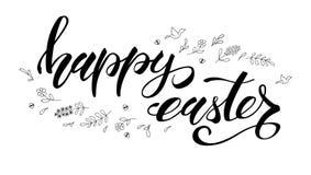 愉快复活节的问候 与黑白手写的书法和概略手拉的艺术的模板 图画递她的温暖的妇女年轻人的早晨内衣 库存例证