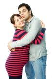 愉快她的丈夫孕妇 免版税库存图片