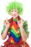 愉快小丑的女性 免版税库存照片