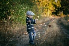 愉快小男孩使用室外在美好的秋天风景 免版税库存照片
