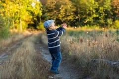 愉快小男孩使用室外在美好的秋天风景 库存图片