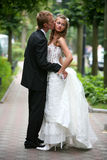 愉快新娘的新郎 免版税库存图片