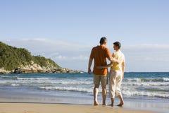 愉快海滩的夫妇 免版税库存图片