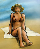 愉快海滩的女孩 免版税库存照片