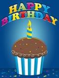 愉快生日的杯形蛋糕 皇族释放例证