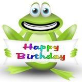 愉快生日的青蛙 免版税库存图片