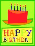 愉快生日蛋糕的看板卡 免版税库存图片
