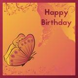 愉快生日贺卡的问候 明信片用橙色蝴蝶装饰并且离开 设计诞生模板 图库摄影