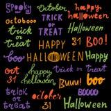 愉快的万圣夜字法词组 行情:把戏或款待,嘘, 10月 库存图片