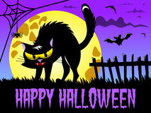 愉快的万圣夜背景恼怒的恶魔般的猫大满月 库存例证