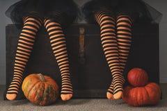 愉快的万圣夜!在长袜的女性脚用橙色南瓜 免版税库存图片