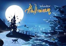 愉快的万圣节聚会、冬天雪花下跌的概念、神秘的城堡剪影幻想与冰山,魔术和奇迹 向量例证