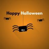 愉快的万圣节 与蜘蛛的标签 免版税库存图片