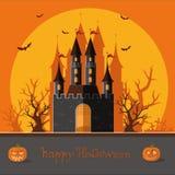愉快的万圣节 愉快的秋天 向城堡的路在中 免版税库存图片