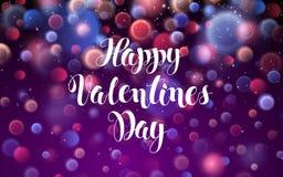 愉快的与光的情人节爱浪漫红色摘要与发光微粒Dsign贺卡 向量 库存照片