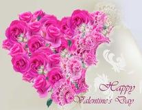 愉快的与桃红色玫瑰心脏鞋带例证的情人节传染媒介现实卡片 库存照片