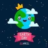 愉快的世界地球日卡片 世界地球日动画片海报 皇族释放例证