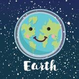 愉快的世界地球日 行星字符 现有量于查出的映射和平震动白色世界 传染媒介平的动画片例证 皇族释放例证