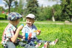 愉快的两个男孩孩子坐草和使用 库存照片