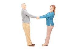 愉快的中部变老了握手和看照相机的夫妇 免版税库存照片