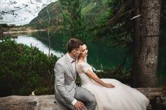 愉快的举行的新郎和他迷人的新的妻子,当坐森林湖Morskie Oko时岸  库存图片