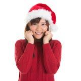 愉快的亚裔圣诞节妇女 库存照片