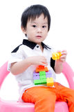 愉快的亚裔孩子画象  免版税图库摄影