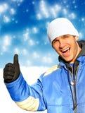 愉快的人在冬天 免版税库存图片