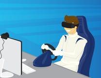 愉快的人在虚拟现实中驾驶一辆汽车 免版税库存照片