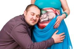 愉快的人孕妇 库存照片
