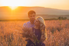 愉快的人户外美好的风景和夫妇在爱机智 库存照片