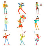 愉快的人民庆祝,给礼物和获得乐趣在生日聚会被设置五颜六色的字符传染媒介 库存照片